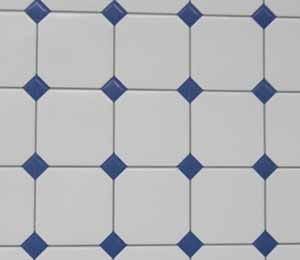 White Tile with Blue Diamond Centres
