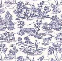 1/24th Campagne Toile - Blue Wallpaper