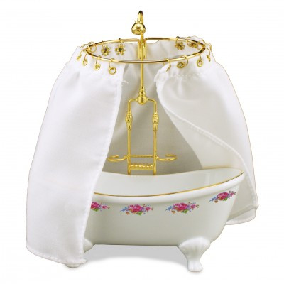 01 Reutter Dresden Rose Porcelain Bathtub with Shower