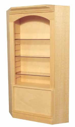 Deluxe Single Corner Display Cabinet with Clear Shelves